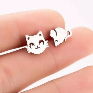 Stainless Steel Cat Mouse Stud Earrings